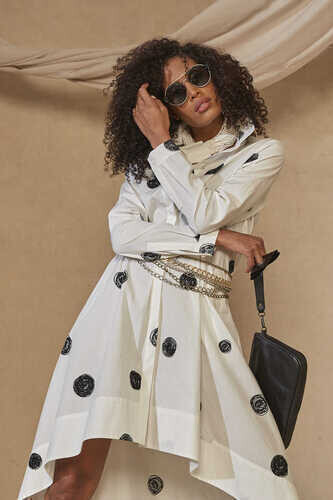 ASYMMETRIC COTTON-POPLIN SHIRT DRESS IN CIRCLE PRINT - Thumbnail