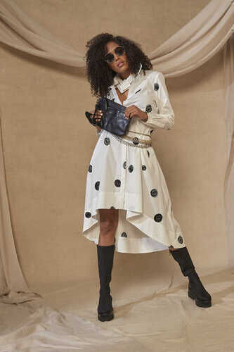 ASYMMETRIC COTTON-POPLIN SHIRT DRESS IN CIRCLE PRINT