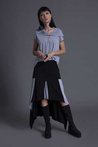 ASYMMETRIC HEM MIDI SKIRT IN COLOR BLOCK