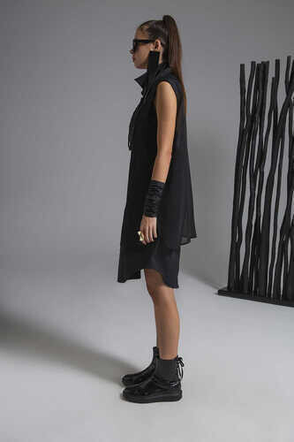 CHIFFON-PANELLED ASYMMETRIC POPLIN SHIRT DRESS - Thumbnail