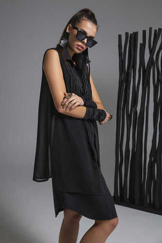 CHIFFON-PANELLED ASYMMETRIC POPLIN SHIRT DRESS