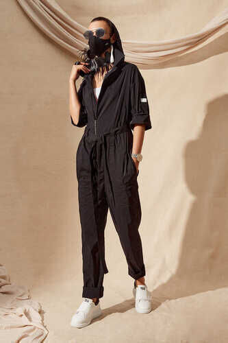 YOU - BELTED COTTON-BLEND POPLIN JUMPSUIT