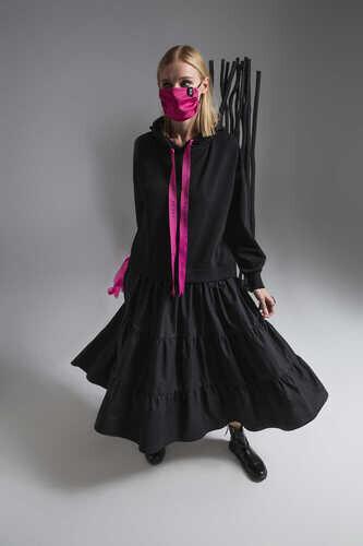 BLACK POPLIN FRILL HEM SWEATSHIRT DRESS WITH TAPE DETAIL - Thumbnail