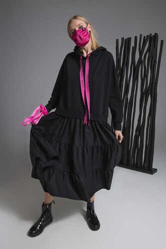 BLACK POPLIN FRILL HEM SWEATSHIRT DRESS WITH TAPE DETAIL