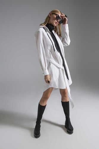 COTTON POPLIN SHIRT DRESS WITH BELTED WAIST - Thumbnail