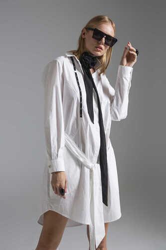 COTTON POPLIN SHIRT DRESS WITH BELTED WAIST