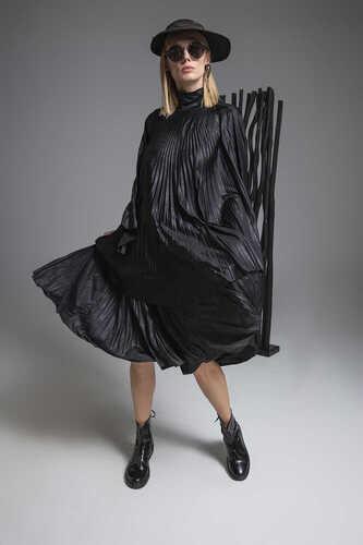 CRACKED-LEATHER LOOK MIDI PLEATED DRESS