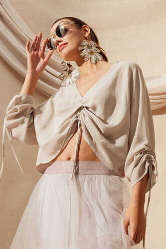 CROP TOP WITH GATHERED FRONT - Thumbnail