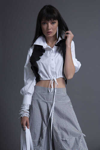 CROPPED POPLIN SHIRT WITH DRAWSTRING HEM - Thumbnail