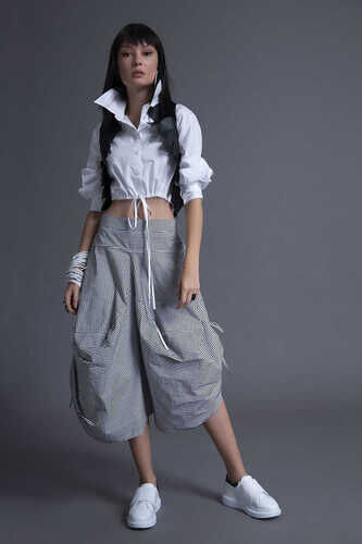 CROPPED POPLIN SHIRT WITH DRAWSTRING HEM
