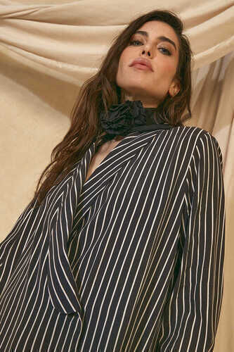 YOU - DEEP V NECK WRAP BLOUSE IN STRIPE