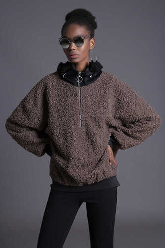 YOU - FAUX FUR SWEATSHIRT WITH HALF ZIP