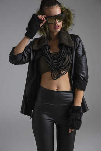 YOU FAUX LEATHER SHIRT WITH FAUX FUR COLLAR