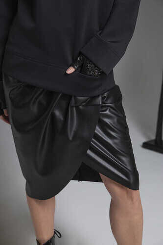 FAUX LEATHER WRAP SKIRT - Thumbnail