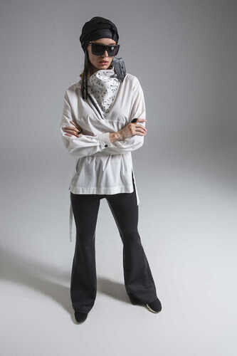 YOU SCUBA FLARE TROUSER WITH LEATHER STRIPE DETAIL - Thumbnail
