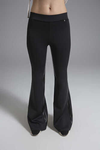 YOU SCUBA FLARE TROUSER WITH LEATHER STRIPE DETAIL
