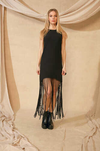YOU FRINGE HEM SLEEVELESS DRESS - Thumbnail