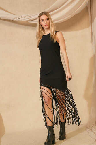 YOU FRINGE HEM SLEEVELESS DRESS