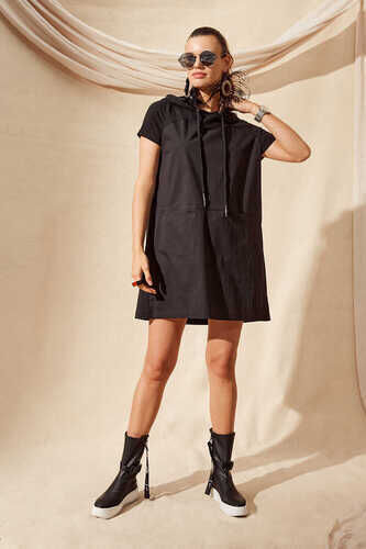 KNIT AND COTTON POPLIN HOODIE DRESS