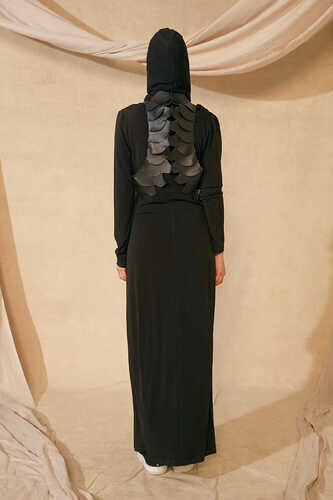 LONG DRESS WITH REMOVABLE HOODED SCARF - Thumbnail