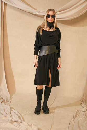 YOU - LONG SLEEVE DRESS WITH COWL NECK IN BLACK