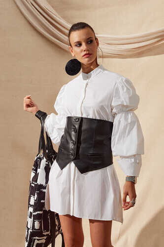 POPLIN SHIRT WITH PUFF SLEEVES IN WHITE - Thumbnail