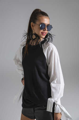 YOU - YOU SWEATSHIRT WITH POPLIN SLEEVES