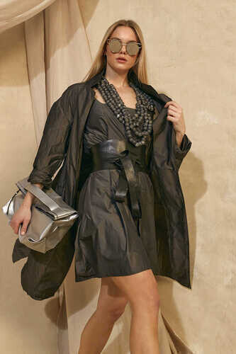 YOU TAFFETA MINI DRESS WITH SQUARE NECK - Thumbnail