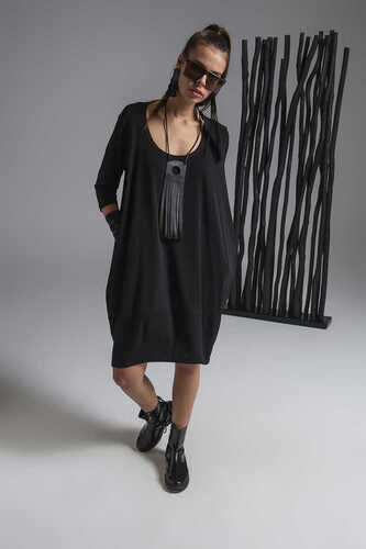 3/4 SLEEVE DRESS WITH ROUND NECK