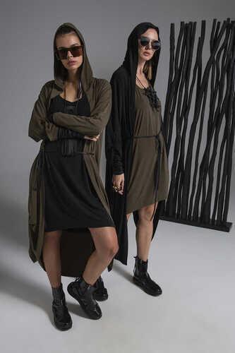 3/4 SLEEVE DRESS WITH ROUND NECK