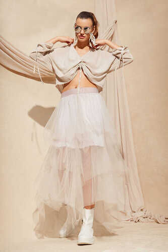 TIERED TULLE SKIRT IN BEIGE