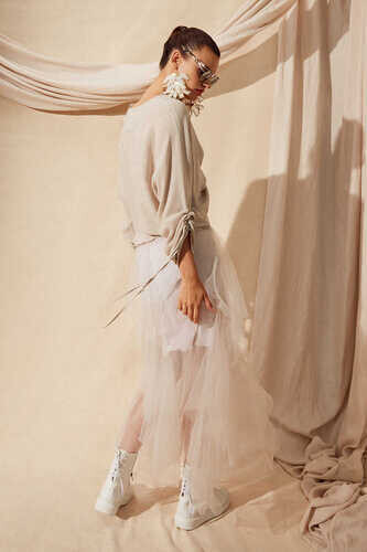 TIERED TULLE SKIRT IN BEIGE - Thumbnail