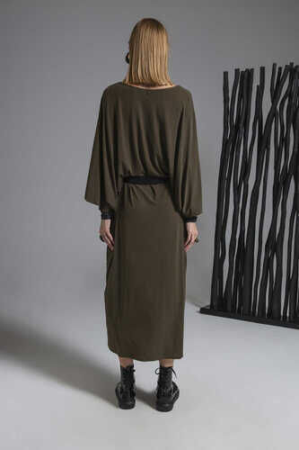 YOU V-NECK BELTED MIDI DRESS WITH BATWING SLEEVES