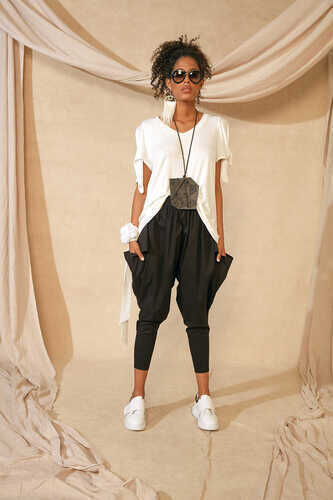 YOU - V-NECK BLOUSE WITH TIE SLEEVES