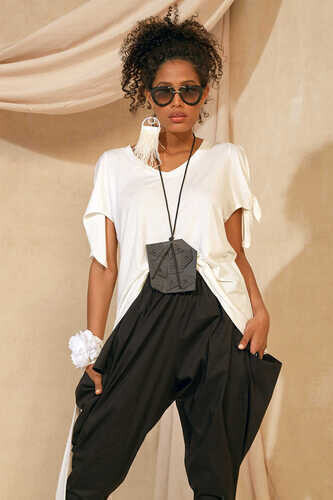 V-NECK BLOUSE WITH TIE SLEEVES - Thumbnail