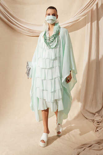 VISCOSE TIERED RUFFLE DRESS