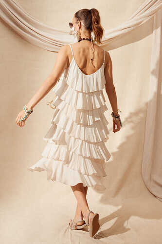 VISCOSE TIERED RUFFLE DRESS - Thumbnail