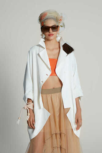 YOU WHITE JACKET WITH SHEER BACK DETAIL IN FLORAL PRINT - Thumbnail