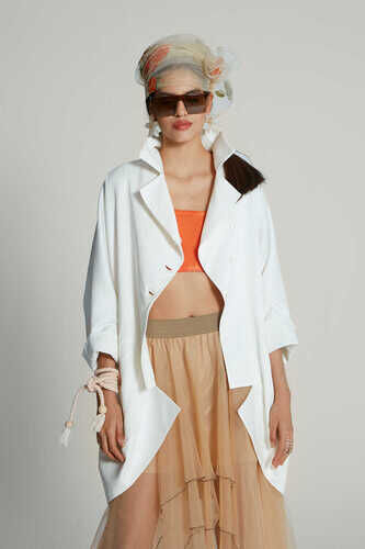 YOU WHITE JACKET WITH SHEER BACK DETAIL IN FLORAL PRINT