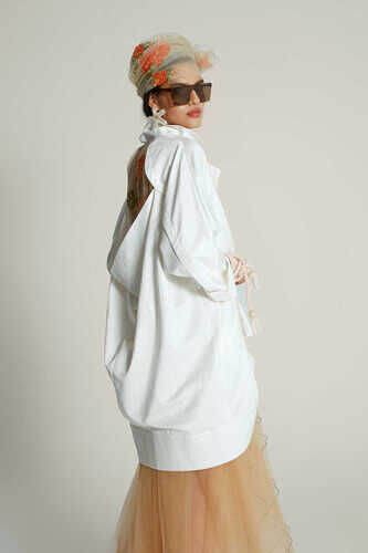 YOU - YOU WHITE JACKET WITH SHEER BACK DETAIL IN FLORAL PRINT